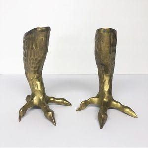 HTF Rare Vintage Brass Eagle Talon Candlesticks